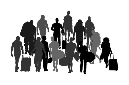 Passengers with luggage walking at airport vector silhouette. Travelers with many bags go home. Man and woman carry baggage. People with heavy cargo load waiting taxi after holiday. Refugees on border