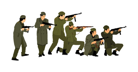 Red army soldiers vector. American soldier with rifle. Partisan against  Germany in WW2 Fierce struggle in occupied Europe. Soviet troops against aggressors in battle. Second World war fighters action