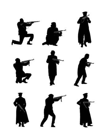 Unité de soldats alliés de la Seconde Guerre mondiale avec des fusils en silhouette de bataille, action en Europe occupée. La Seconde Guerre mondiale lutte pour la liberté contre l'ennemi. Libération du peuple des envahisseurs.