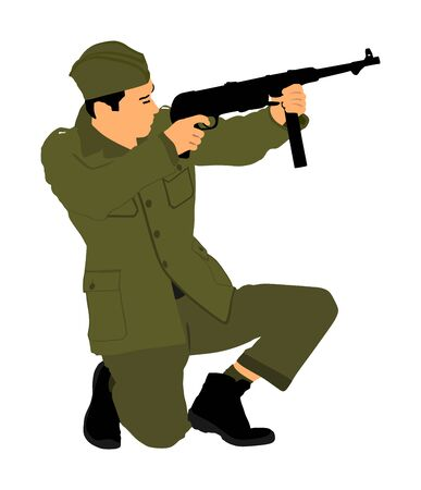 Red army soldier vector. American soldier with rifle. Partisan against Nazi Germany in WW2. Fierce struggle in occupied Europe. Soviet troops against aggressors in battle. Second World war fighter.