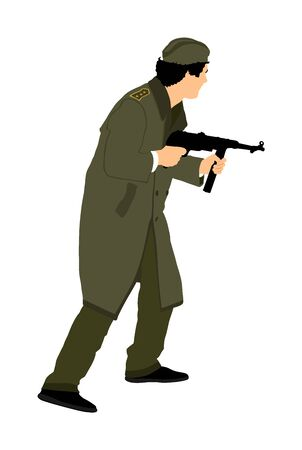 Red army soldier vector. American soldier with rifle. Partisan against enemy in WW2. Fierce struggle in occupied Europe. Soviet troops against aggressors in battle. Second World war fighter.