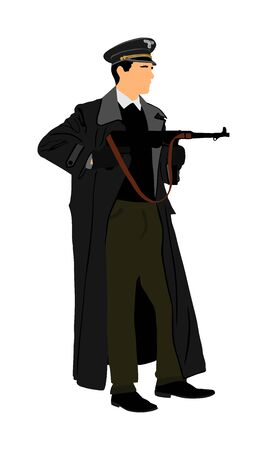 Germany soldier with rifle vector illustration. SS officer in battle. WW2 warrior in occupied Europe. Second world war.