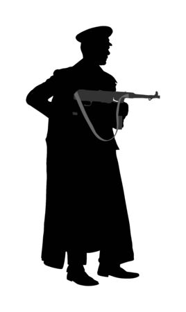 Germany soldier with rifle vector silhouette illustration. Occupier officer in battle. WW2 warrior in occupied Europe. Second world war.