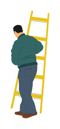 Builder carrying a ladder vector isolated on white background. Construction worker with ladder walking. Painter painting at work. Handyman working on home adaptation. Move in laborer action