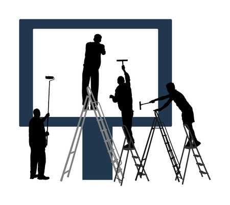 Blank billboard ready to use for advertisement. Marketing street media. Billboard workers painter with paint brush roller climbed on ladders vector silhouette. Commercial sign prepares to installing