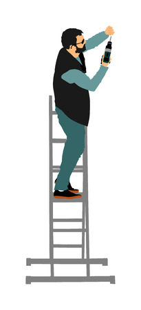 Repairman with cordless drill in hand vector illustration isolated on white. Handyman on ladders working on wall hole. Carpenter handle activity on renovation home before move in. Hard worker on job.