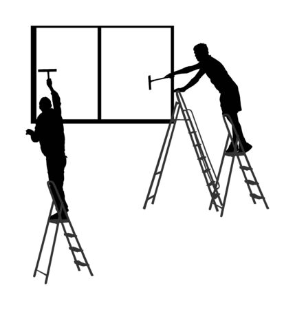 Washer crew workers washing windows on ladders vector silhouette isolated on white background. Window cleaner service working on a glass facade. Laborer on high risk work cleaning glass. Handyman job.