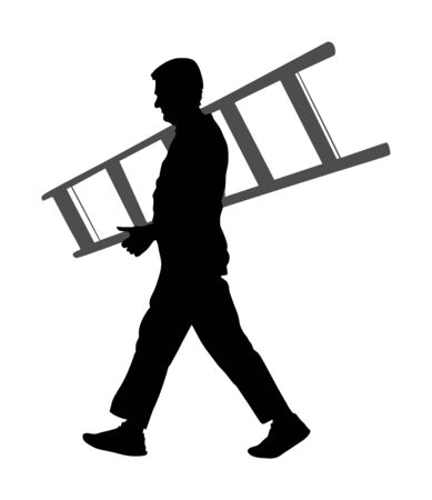 Builder carrying a ladder vector silhouette isolated on white background. Construction worker with ladder walking. Painter painting at work. Handyman working on home adaptation. Move in laborer action