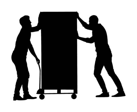 Hard workers pushing wheelbarrow and carry big box vector silhouette isolated on white. Delivery man moving package by cart. Service moving transport. Warehouse job activity. Looting bailiff laborer
