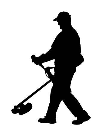 Rasentrimmer Arbeiter Vektor-Silhouette. Gartenarbeit. Mann im Freien Rasentrimmer schneiden. Gärtner arbeiten. Landschaftsgärtner. Arbeiter im Park kommunale städtische Dienstleistungstätigkeit. Pflege auf der grünen Wiese.