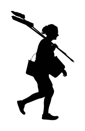 Floor care and cleaning services with washing mop in sterile factory or clean hospital. Cleaning lady service vector silhouette illustration. Housemaid cleaner with bucket and equipment. Housework job Ilustracje wektorowe