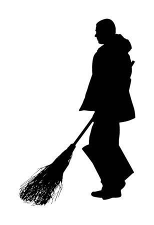 Worker sweeping with besom. Man with brush and rake collects leaves vector silhouette isolated on background. Cleaning street, leaf cleaner man. city utility service, communal company. Ilustração
