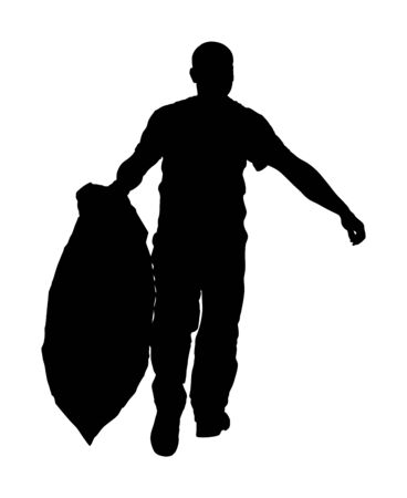 Gardener man with bag of leaves or garbage, trash, vector silhouette. Landscaper hold a plastic bag with garbage. Backyard Garden Summer Clean Up. Laborer working outdoor. Hard worker with luggage. 일러스트