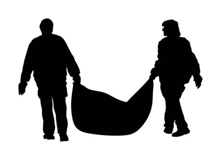 Park outdoor workers with bag of leaves  garbage, trash, vector silhouette. Gardeners holds a plastic bag with garbage. Backyard Garden raking, Clean Up. Landscaper Foliage cleaning. Leaf collection