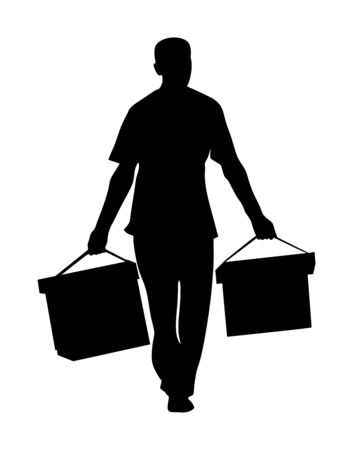 Worker carrying boxes vector silhouette isolated on white background. Moving service situation. Transportation by hands. Warehouse activity. Hard work delivery man. Laborer with heavy cargo activity