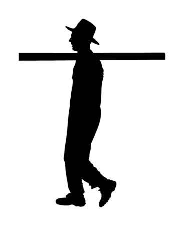 Worker carries a beam on his shoulder vector silhouette. Construction man walking with leverage. Farmer laborer activity.