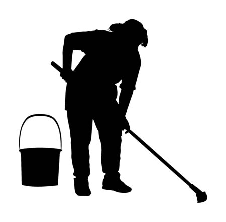 Floor care and cleaning services with washing mop in sterile factory clean hospital. Cleaning lady service  silhouette vector illustration. Housemaid cleaner with bucket and equipment. Housework job