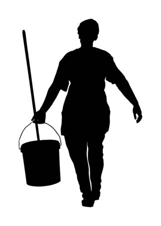 Floor care and cleaning services with washing mop in sterile factory or clean hospital. Cleaning lady service vector silhouette illustration. Communal worker clean garbage and trash from street.
