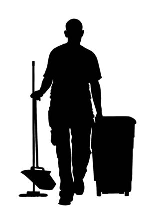 Floor care and cleaning services with washing mop in sterile factory or clean hospital. Cleaning man service vector silhouette illustration.  trash bin with worker cleaning the road background.