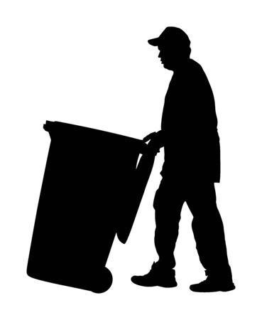 Worker with recycle bin collects leaves vector silhouette isolated on white background. Cleaning street cleaner man. Communal Garbage collector. Landscaper outdoor activity. City sanitation.