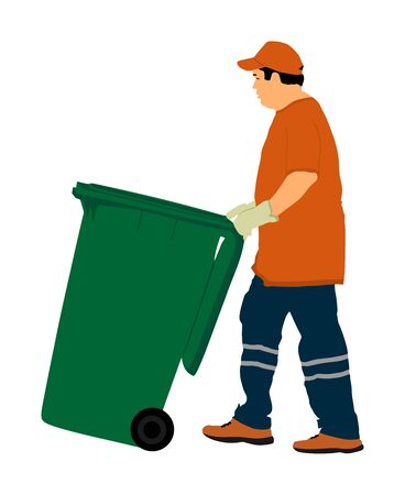 Worker with recycle bin collects leaves vector illustration isolated on white background. Cleaning street cleaner man. Communal Garbage collector. Landscaper outdoor activity. City sanitation.