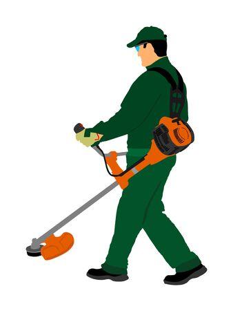 Grass trimmer worker vector illustration. Garden work. Man outdoor grass cutting Lawn Trimmer. Gardener working. Landscaper. laborer in park communal urban service activity. Green field care.