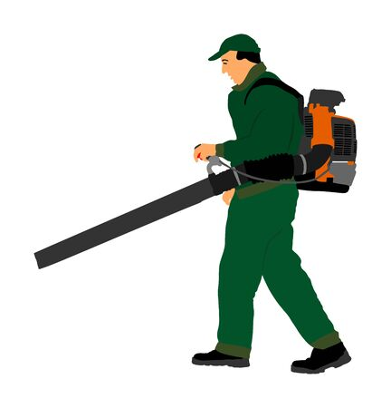 Landscaper operating petrol Leaf Blower in the city park, vector illustration. Worker on a street in autumn collects leaves with a leaf blower. Communal city job cleaning park. Gardener laborer farmer