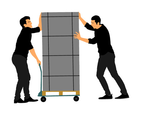 Delivery man carrying boxes of goods. Post man with package on cart . Distribution procurement. Boy holding heavy package for moving service. Handy man walking in move action. Hand transportation method.