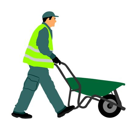 Construction worker with wheelbarrow vector illustration. Man carrying loader with goods at warehouse. Transportation carrying on cart vector. Worker with empty cart. Farmer pushing cart. Ilustração