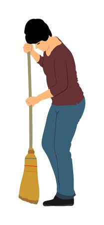 Housemaid woman cleaner vector illustration Isolated over white. Floor care and cleaning services with washing mop in sterile factory or clean hospital. Cleaning lady. Housework job. House wife.