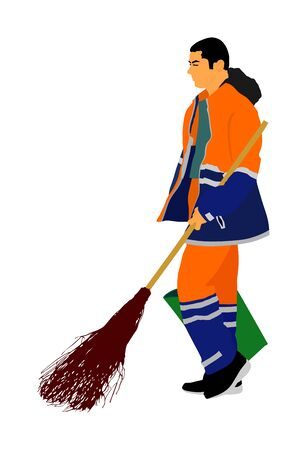 Worker sweeping with besom. Man with brush and rake collects leaves vector illustration isolated on background. Cleaning street, leaf cleaner man. city utility service, communal company. Ilustração