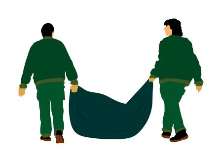 Park outdoor workers with bag of leaves  garbage, trash, vector illustration. Gardeners holds a plastic bag with garbage. Backyard Garden raking, Clean Up. Landscaper Foliage cleaning. Leaf collection