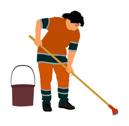 Housemaid cleaner vector illustration Isolated over white background. Cleaning lady. Floor care and cleaning services with washing mop in sterile factory or clean hospital. Cleaning service.