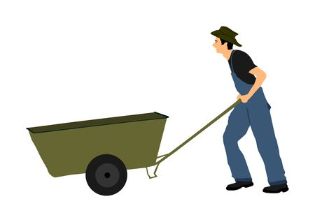 Skinny farmer, or construction worker with wheelbarrow vector illustration. Man gardener carrying loader with goods at warehouse. Transportation carrying on cart vector. Landscaper with empty cart.