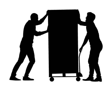 Hard workers pushing wheelbarrow and carry big box vector silhouette isolated on white. Delivery man moving package by cart. Service moving transport. Warehouse job activity.  Looting bailiff laborers Illustration