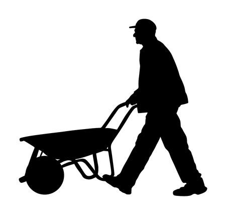 Operaio edile con l'illustrazione della siluetta di vettore della carriola. Uomo che trasporta caricatore con merci in magazzino. Trasporto che trasporta il vettore del carrello. Operaio con carrello vuoto. Carretto di spinta dell'agricoltore.