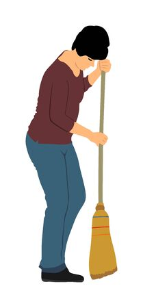 Cleaning lady wit broom. Housemaid cleaner with besom vector illustration Isolated on white. Woman floor care service with washing mop in sterile factory or clean hospital. Housework job. House wife. Ilustracja