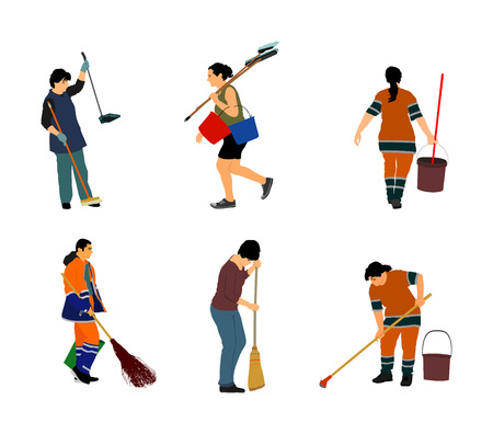 Housemaid cleaner vector illustration Isolated over white background. Floor care and cleaning services with washing mop in sterile factory or clean hospital. Cleaning lady. Housework job.House wife. Ilustracja