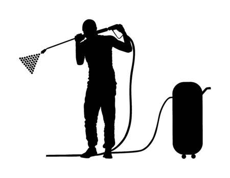 Autowaschzentrum Vektor-Silhouette isoliert auf weißem Hintergrund. Junge kümmert sich um Auto im Waschservice. Arbeiter mit Kompressor-Wasserpistole sauber. Boxenstopp-Reinigungsfahrzeug. Mann, der Auto wäscht. Vektorgrafik