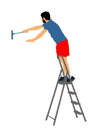 Washer washing windows of ladder vector illustration isolated on white background. Window cleaner working on a glass facade. Worker work cleaning glass.