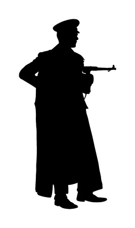 Germany soldier in uniform with rifle vector silhouette illustration. SS officer in battle. WW2 warrior in occupied Europe. Second world war soldier. Historical army member. Çizim