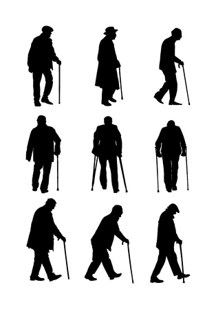 Elderly seniors walking crowd vector isolated on white . Old man person with stick silhouette. Mature old people active life. Grandfather veterans company. Health care in nursing home. Senior meeting. Illustration