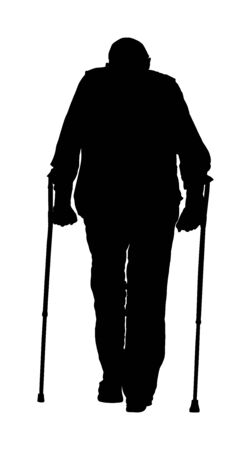 Old invalid man person walking with sticks,vector isolated on white background. Injured man with crutches vector silhouette illustration isolated on white. disabled man on crutches. Recovery senior.  イラスト・ベクター素材