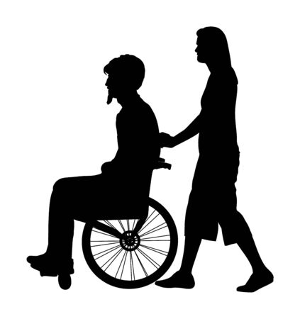 Woman assistant disabled man in wheelchair vector silhouette isolated on white. Injured person with help . Health care activity after hospital treatment. traffic accident victim. Invalid boy and nurse  イラスト・ベクター素材