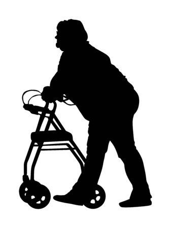 Anciana discapacitada usando un vector de silueta de caminante. Vector de dama inválida madura aislado sobre fondo blanco. Abuela en un hogar de ancianos. Vida activa de mujer mayor con apoyo médico. Vida activa.