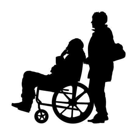 woman pushing strolling with disabled man patient in wheelchair vector silhouette.  Patient in wheelchair isolated on white. Nurse support injured man. Hospital paramedic Social worker activity.