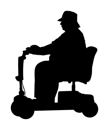 Senior woman on electric wheelchair vector silhouette illustration isolated on white background. Mature lady on electric walker. Disabled person active life. Invalid grandmother. People with help.