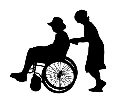 Social worker woman strolling with elder disabled patient in wheelchair. Vector silhouette senior patient in wheelchair isolated on white. Nurse support injured man. Hospital paramedic help activity. Illustration