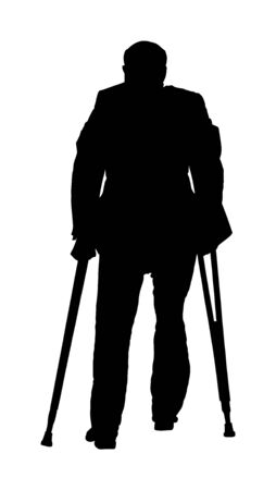 Old invalid man person walking with sticks,vector isolated on white background. Injured man with crutches vector silhouette illustration isolated on white. disabled man on crutches. Recovery senior. Illustration