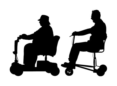 Senior couple on electric wheelchair vector silhouette illustration isolated on white background. Mature people on electric walker. Disabled person active life. Invalid grandmother and grandfather.